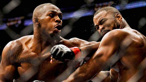 Jon Jones (left) fights Rashad Evans in the main event and light heavyweig