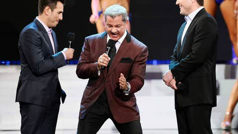 Kenny Florian, Bruce Buffer and Chael Sonnen at the 17th annual Hooters International Swimsuit Pageant
