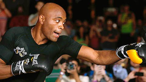 Anderson Silva holds an open training session for media and fans inside XS The Nightclub at Encore Las Vegas