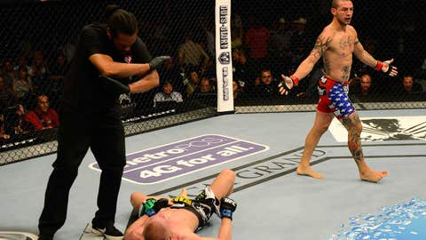 Cub Swanson reacting to his TKO victory over Dennis Siver
