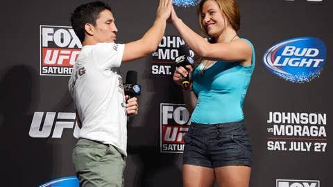 Joseph Benevidez and Miesha Tate exchanged a hi-5