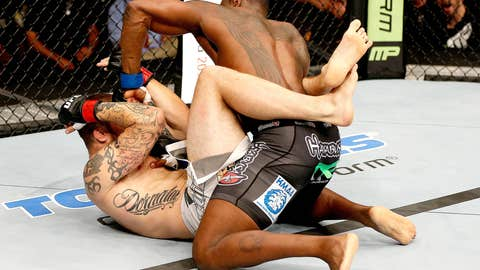 Ovince Saint Preux ground and pounding Cody Donovan