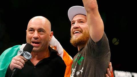 Joe Rogan with a victorious Conor McGregor