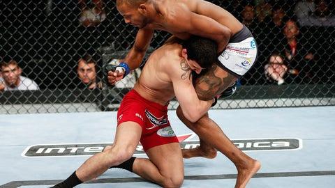 Souza with a double-leg takedown