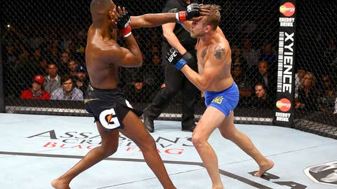 Jones attempts to keep Gustafsson at bay