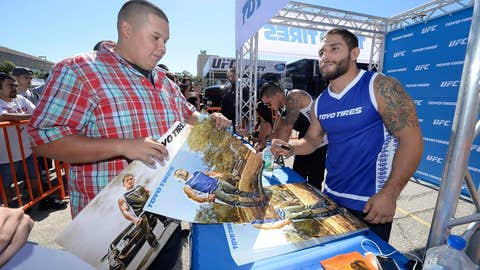 Chad Mendes with a fan