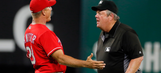 Rangers manager ejected after Angels out turns into double
