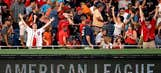 Kid with popcorn bucket on head drilled with foul ball, falls onto field