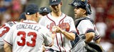 Minor loses no-no in 8th, Braves win on J. Upton's homer in 12th