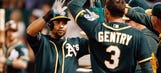 Crisp scores on wild pitch as A's beat Angels, force tie atop AL West