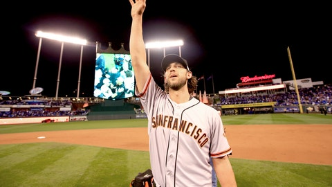 2014: Bumgarner does his best Gibson impression