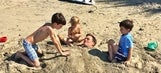 Tom Brady captures culprits (children) who buried him alive at beach