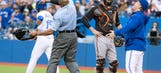 Blue Jays' Bautista hit by pitch, Gibbons ejected vs. Orioles