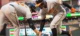 Watch Orioles' Adam Jones crush a ball off the foul pole