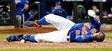 Mets' Cespedes exits World Series Game 5 after taking foul off knee