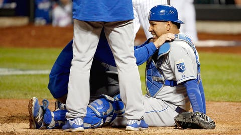 Is World Series MVP Salvador Perez still covered with bruises?