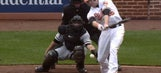 Baltimore's Mark Trumbo struck out on a pitch that hit him
