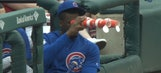 Jorge Soler watched the Cubs game through a pair of cup binoculars