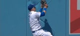 Dodgers OF Joc Pederson leaves imprint in outfield wall after terrific catch