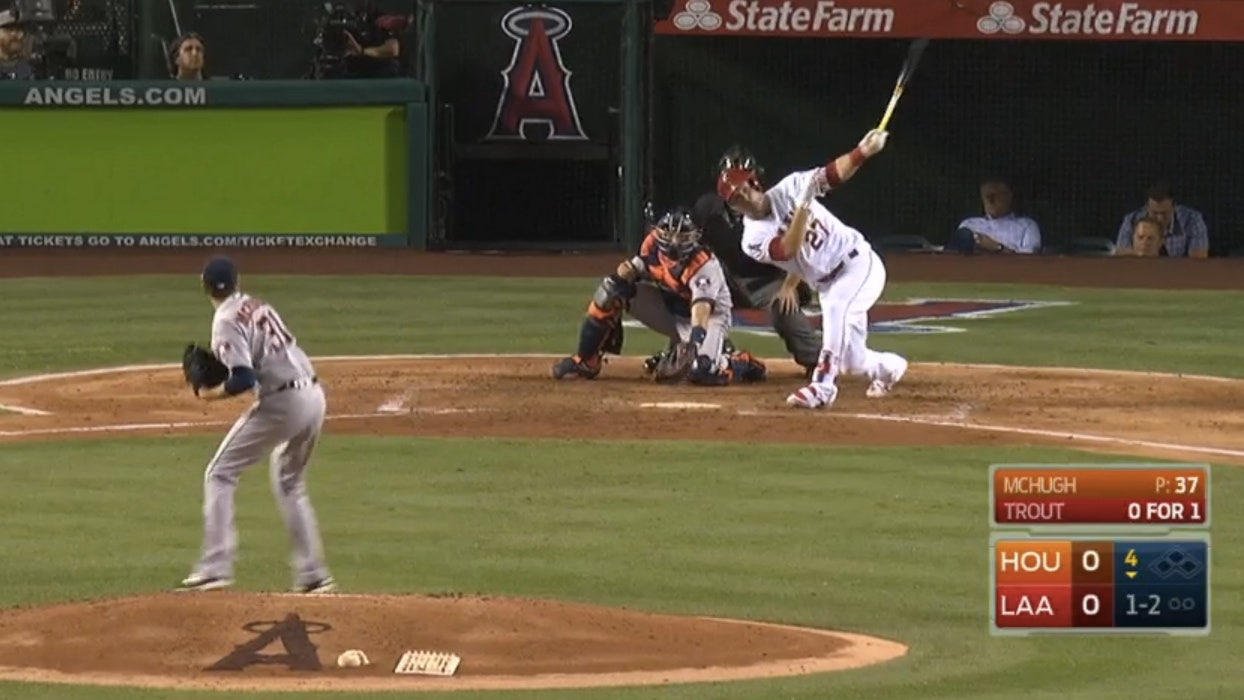 Mike Trout belts 413-foot home run on pitch that nearly hits