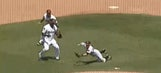 Twins minor leaguer makes diving catch after ball bounces off teammate's head