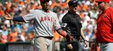 Angels' Yunel Escobar ejected for drawing what looks like a plate in the infield dirt