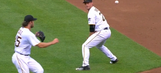 Gerrit Cole and David Freese combine for circus play at first base
