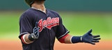 Indians' Santana struck in dugout by foul ball, helped away