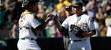 A's break out of slump and beat Rangers 7-1 to avoid sweep