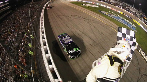 Hamlin takes the checkered flag