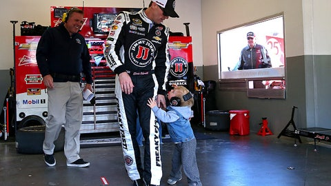 Kevin Harvick and his son Keelan