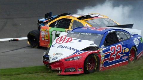 Kyle Busch and Joey Logano collide in Kansas Kyle Busch and Joey Logano collide in Kansas
