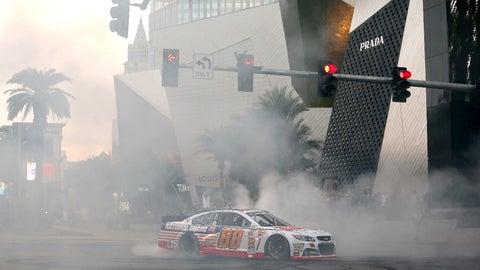 Viva Las Burnout: NASCAR stars smoke the tires on the Vegas Strip