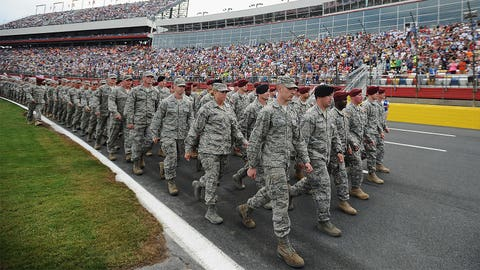 Military heroes honored by replacing driver names on cars for Coca-Cola 600