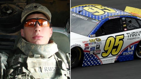 Army Cpl. Ryan D. Russell/No. 95 Leavine Family Racing Ford of Michael McDowell