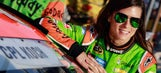 Danica Patrick gets REALLY limber before going for swim
