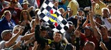 A man of the people: Carl Edwards celebrates Coca-Cola 600 win with fans