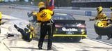 Keselowski locks up brakes, hits jackman and tire carrier on pit road