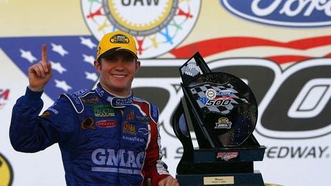Brian Vickers wrecks Jimmie and Junior to win at Dega