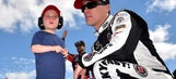Kevin Harvick's 3-year-old son, Keelan, gets behind the wheel