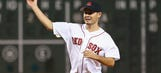Kyle Larson throws out first pitch at Boston's Fenway Park