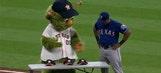 Adrian Beltre was not having ANY of the Houston Astros' mascot's pregame antics