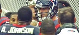Matt Schaub and Andre Johnson argue on the sidelines