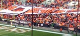 Whoops! Browns fans hold Dawg Pound sign upside down