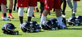 Falcons OL Jones stretchered off practice field, taken to hospital