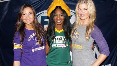 FOX Sports Wisconsin Girl Bishara and FOX Sports North Girls Angie & Kendall are all smiles before the Packers vs. Vikings border battle.