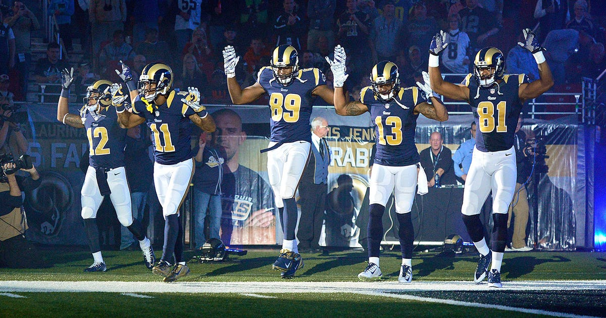 74b984e4a16 Rams receiving corps takes field with 'Hands up, don't shoot' Ferguson  protest | FOX Sports