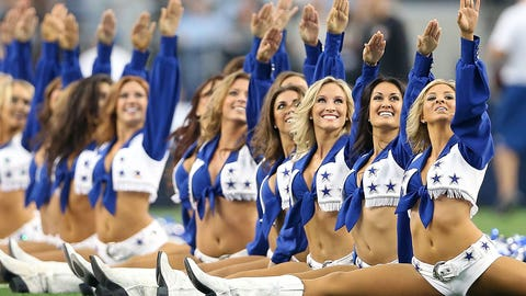 """The Dallas Cowboys cheerleaders always bring holiday cheer."""