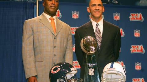 Super Bowl XLI: Tony Dungy and Lovie Smith become the first African-American head coaches to take a team to the Super Bowl