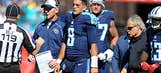 Titans QB Mariota back at practice, limited with knee sprain